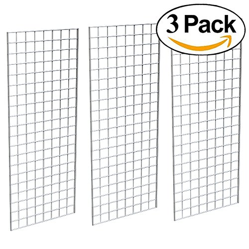 Grid Panel for Retail Display – Perfect Metal Grid for Any Retail Display, 2' Width x 5' Height, 3 Grids Per Carton -