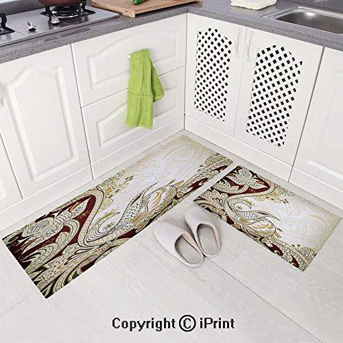 2 Piece Non-Slip Kitchen Mat,Kitchen Rugs and Runner Set(15
