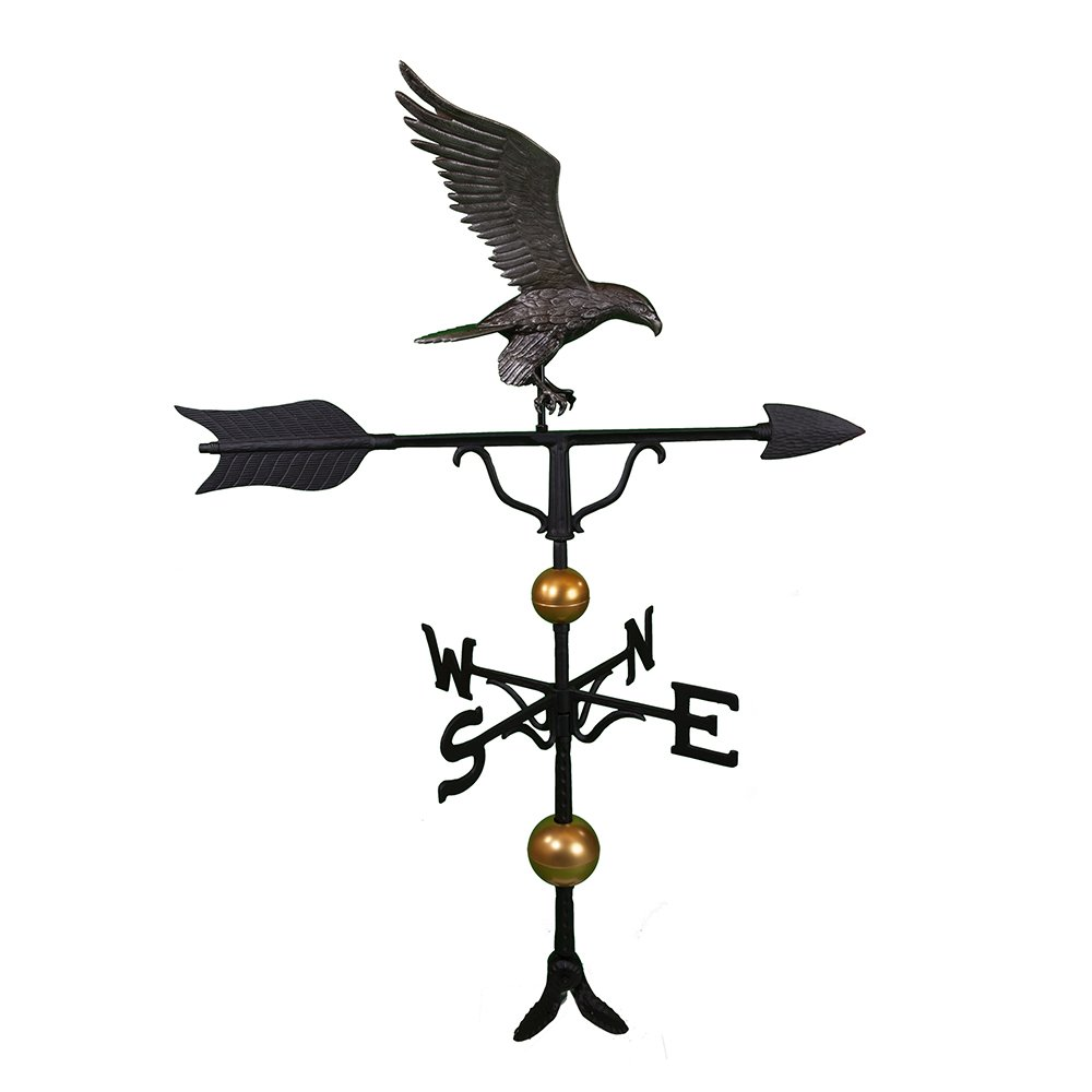 Montague Metal Products 52-Inch Deluxe Weathervane with Full Bodied Swedish Iron Eagle Ornament
