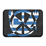 Greek Flag Peace Sign Symbol Indoor Outdoor Entrance Rug Non Slip Kitchen Rug Doormat Rugs Home