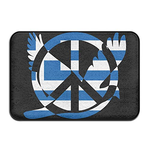 Greek Flag Peace Sign Symbol Indoor Outdoor Entrance Rug Non Slip Kitchen Rug Doormat Rugs Home by HONMAt-Non