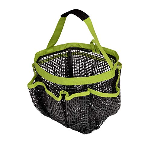 Smart Design Rubber Mesh Shower Tote Caddy w/ 8 Compartments & Handles - Waterproof Rubber Mesh - for Toiletries, Shampoos, Misc. Item - Home Organization (8 x 9 Inch) [Green]