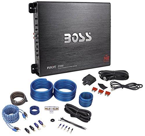 Boss R3400D 3400 Watt Mono Car Audio Class D Amplifier+Bass Remote+Install Kit