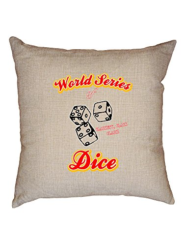 Hollywood Thread World Series of Dice Skit Tribute Decorative Linen Throw Cushion Pillow Case with Insert