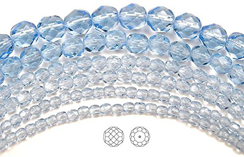 Strand Light Sapphire (3mm (135 beads) Light Sapphire, Czech Fire Polished Round Faceted Glass Beads, 16 inch strand)