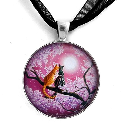 (Laura Milnor Iverson Orange and Gray Tabby Cats in Cherry Blossoms Romantic Pink Zen Moon Handmade Jewelry Pendant Black Ribbon)