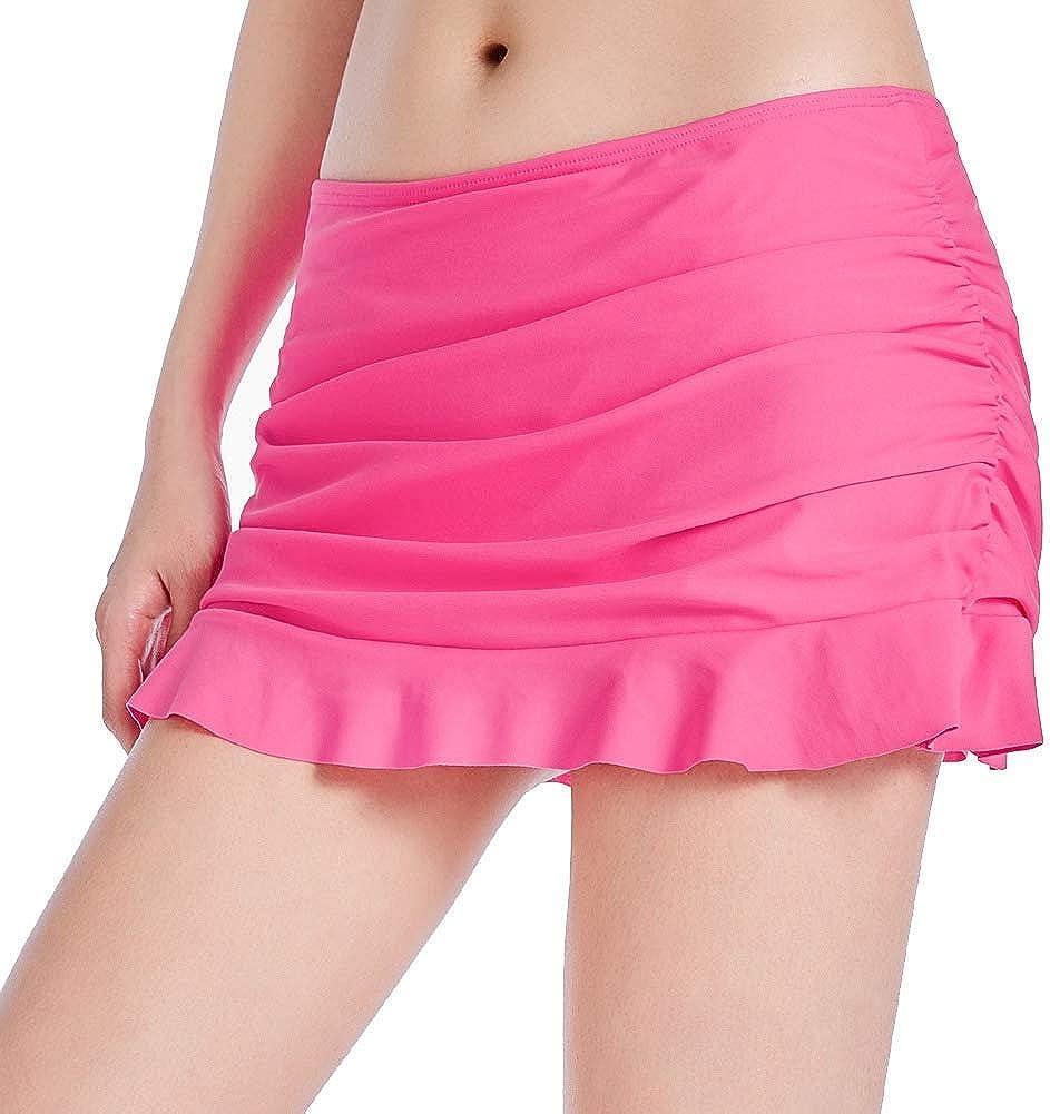 Taigood Women UV Protection Bikini Skirt Pleated Ruffled Swim Skirt Beach Swim Trousers with Briefs