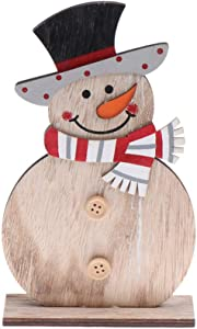 Toyvian Christmas Wooden Snowman Decorations 3D Vintage Standing Snowman Figurines Dinner Party Table Centerpiece