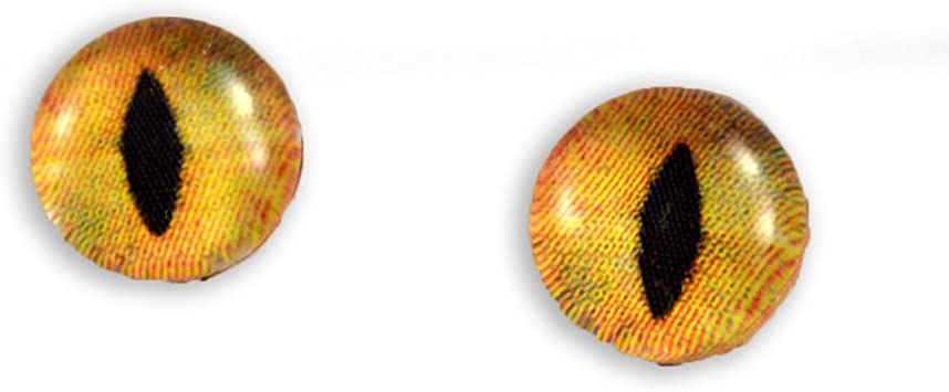 8mm Creamy Orange Cat Glass Eyes Crafting Supply Flatback Cabochons for Art Doll Taxidermy or Jewelry Making