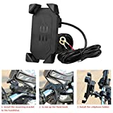 Anauto 2 in 1 Motorcycle Mount Cell Phone Holder Bracket with USB Charger Socket Plug 360 Degree Rotation for iphone, Samsung HTC Huawei Nexus GPS and More Portable(Black)