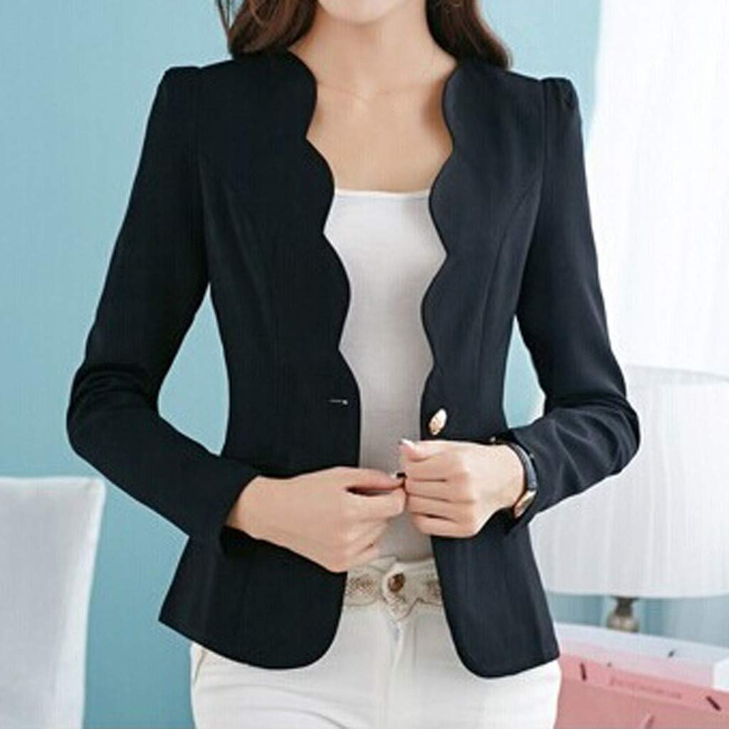 EDC Work Office Blazer One Button Jacket for Women and Petite Open Front Blazer Korean Style Cardigan Officewear with Pocket