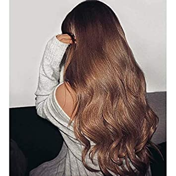 Ugeat 22 Inch Human Hair Wigs With Baby Hair Color Light Brown 8 Lace Front Solid Wigs Human Hair