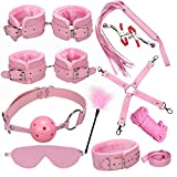PADCOD Under Bed Restraint System Kit Adjustable Straps Fit Almost Any Size Mattress Bondage Romance Kit with Ankle Cuffs Hand Cuffs Soft Comfortable for Couples Adventure Handcuffs SM Sex