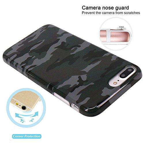 Coque iPhone 7 Plus, Coque iPhone 8 Plus, JIAXIUFEN Silicone TPU Étui Housse Souple Antichoc Protecteur Cover Case - Vert Camouflage Camo Désign
