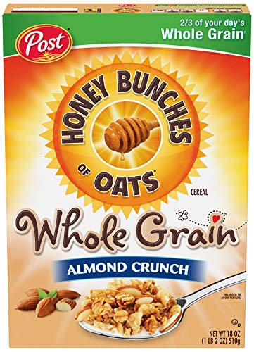 Honey Bunches of Oats Cereal Whole Grain Almond Crunch 18 Ounce (Pack of 2)
