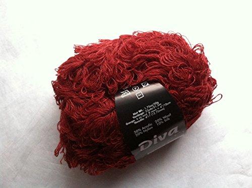 S. Charles Collezione Diva #2066 Garnet Red Acrylic Wool Nylon Silk Loop Boucle Yarn 50 Gram