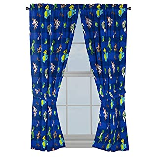 """Disney Toy Story Buzz & Woody 63"""" inch Drapes - Beautiful Room Décor & Easy Set Up, Bedding Features Forky, Ducky, & Bunny - Curtains Include 2 Tiebacks, 4 Piece Set (Official Disney Product)"""