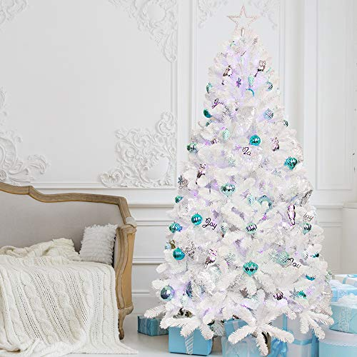 7ft White Artificial Christmas Tree with Blue Ornaments