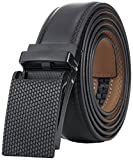 Marino Avenue Men's Genuine Leather Ratchet Dress Belt with Linxx Buckle, Enclosed in an Elegant Gift Box - Black Buckle with Black Imprinted Leather - Adjustable from 28