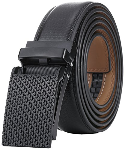 Marino Avenue Men's Genuine Leather Ratchet Dress Belt with Linxx Buckle, Enclosed in an Elegant Gift Box - Black Buckle with Black Imprinted Leather - Adjustable from 38 to 54 Waist