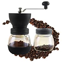 Coffee Burr Grinder, GreeSuit Manual Coffee Grinder Mill Ceramic Burr Hand-Crank Coffee Mill with Glass Container