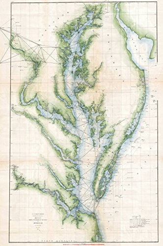 Historical 1873 U.S. Coast Survey Chart or Map of the Chesapeake Bay and Delaware Bay | 24 x 36in Fine Art Print | Antique Vintage Map