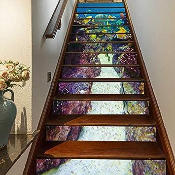 FLFK 3D Peces de los fondos marinos auto-adhesivos Pegatinas de Escalera pared pintura vinilo Escalera calcomanía Decoración 39.3 pulgadas x7.08 pulgadas X 13Piezas: Amazon.es: Bricolaje y herramientas