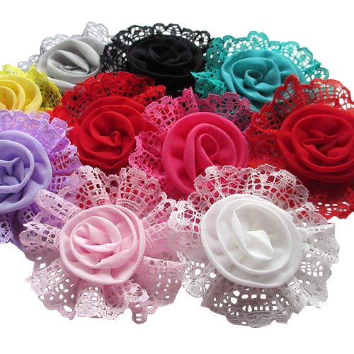 Chenkou Craft 20pcs Large Trim Chiffon Ribbon Bows Flowers Appliques Wedding 85MM ()