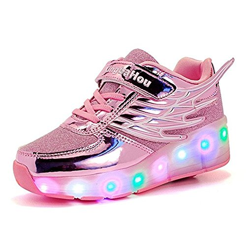 Hanglin Trade Children Athletic Wing Wheel Shoes Roller Skates Sneakers Night Fashionable LED Light Shoes ?Pink 11.5 M US Little Kid?]()