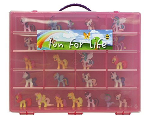 - Fun for Life Storage Organizer for Little Pony Figures Fits Approx. 80 pieces - Strawberry/Pink