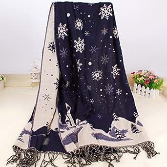 Lady coloré motif de grande taille 65* * * * * * * * 200cm longues col chaud écharpe châle Wrap Stole avec neige Design, Cadeau de Noël L naturel