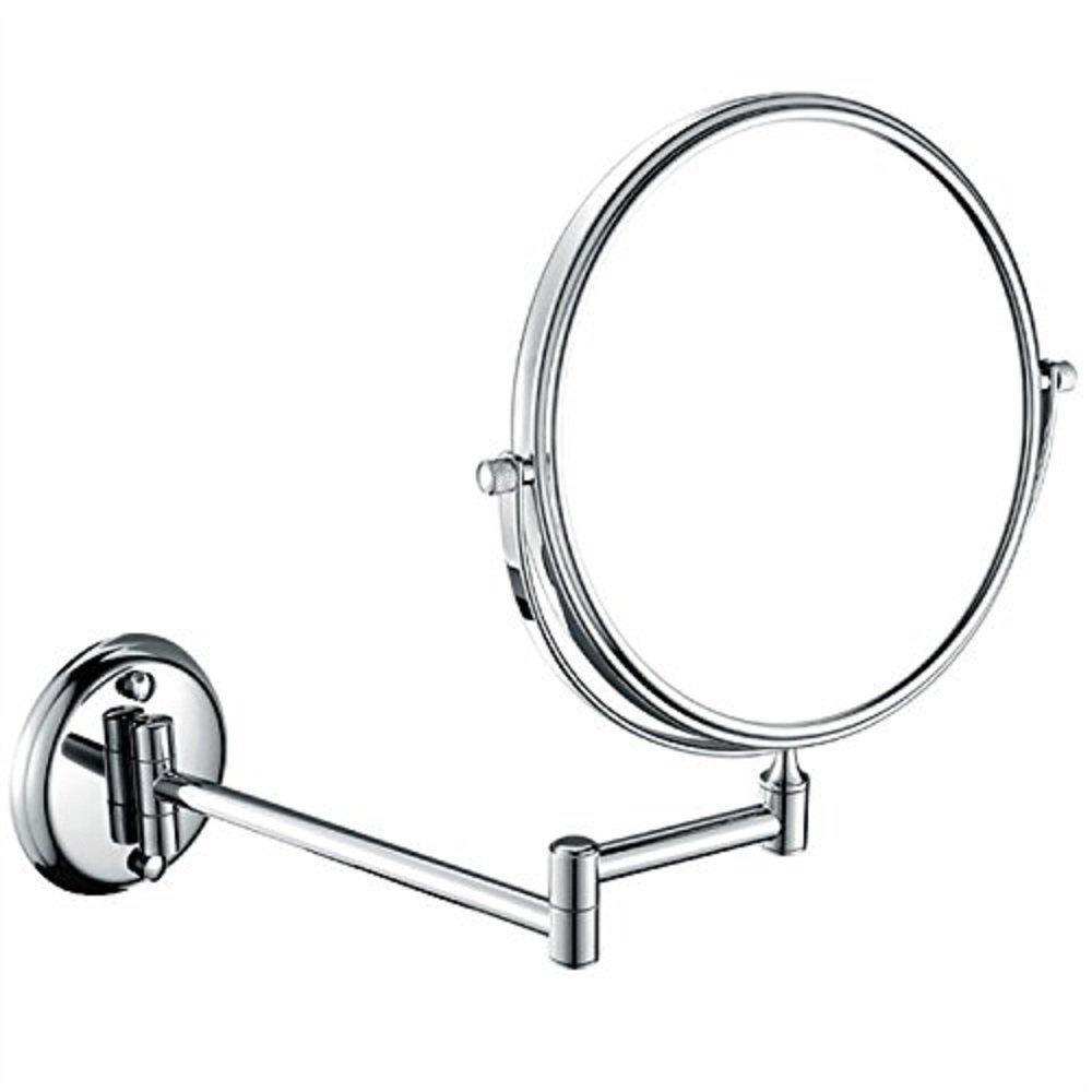 HQdeal 6 Pollici Allungabile Specchio Bagno Trucco Specchio Ingranditore da Parete 360 ° Girevole Rotondo Doppio Finitura Oro