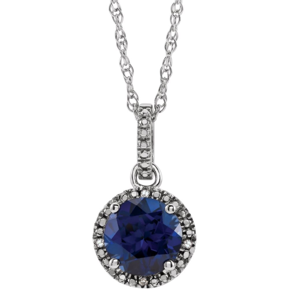 FB Jewels 925 Sterling Silver Lab-Grown Blue Sapphire /& .01 CTW Diamond 18 Necklace
