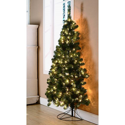 Pre Lit Half Christmas Tree: 6-Ft Pre-Lit Rockport Half Corner Christmas Tree