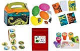 160 pc Dinosaur Kid's Party Favor Bundle Pack (12 Goody favor treat boxes, 12 Stampers, 12 Notepads, 24 Dino Eggs, 100 pc roll stickers, Bonus Bag)