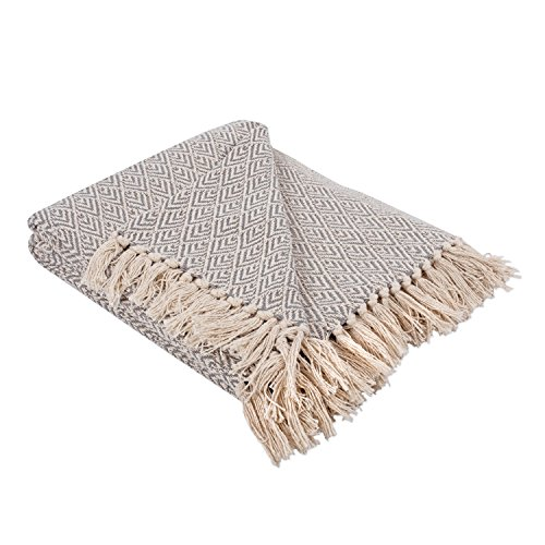 "dii rustic farmhouse cotton diamond blanket throw with fringe for chair, couch, picnic, camping, beach, & everyday use , 50 x 60"" - diamond gray"