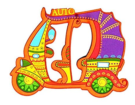 Skywalk Wooden Auto Rickshaw Delhi Fridge Magnet (Multicolour) Magnets (Home & Kitchen) at amazon