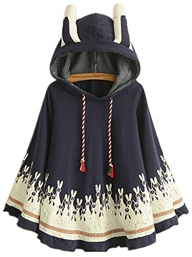 Aza Boutique Women's Cute Cotton Blend Rabbit Ears Hooded -