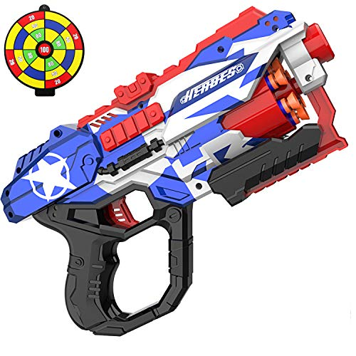 okk Blaster Pistol Toy for Kids, Blaster Pistol with 60 PCS Foam Darts Bullets and One Shooting Target Soft Bullet Pistol for Kids Birthday Gifts Party Supplies Hand Pistol Toys for Boys (Blue)