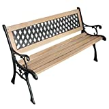 vidaXL Patio Outdoor Vintage Wooden and Iron Garden Bench w/Diamond Pattern Backrest