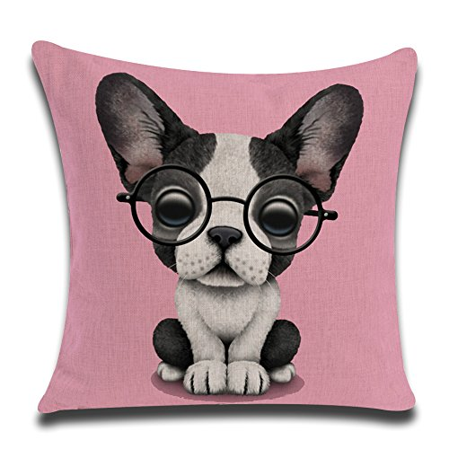 kithomer New Arrival Lovely Animals Boston Terrier Baby Wearing Glasses Throw Pillow Covers Home Decor Cotton Linen Cushion Cover Pillow Case for Sofa Couch 18 x 18 Inch (Pink/Dog, 18 - Linen Pillow Terrier