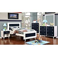 Alivia Blue & White Finish Full Size 5-Piece Bedroom Set / NO TRUNDLE