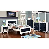 Alivia Blue & White Finish Twin Size 5-Piece Bedroom Set / NO TRUNDLE