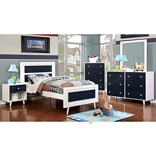 Alivia Blue & White Finish Full Size 5-Piece Bedroom Set / NO TRUNDLE (Hardwood Bedroom Furniture Sets)