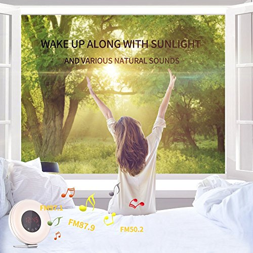 Wake Up Light Alarm Clock, SMARTRO Alarm Clock Radio with Colored Sunrise Simulation, 7 Colors, Nature Sounds, FM Radio, Touch Control for Heavy Sleepers & Kids