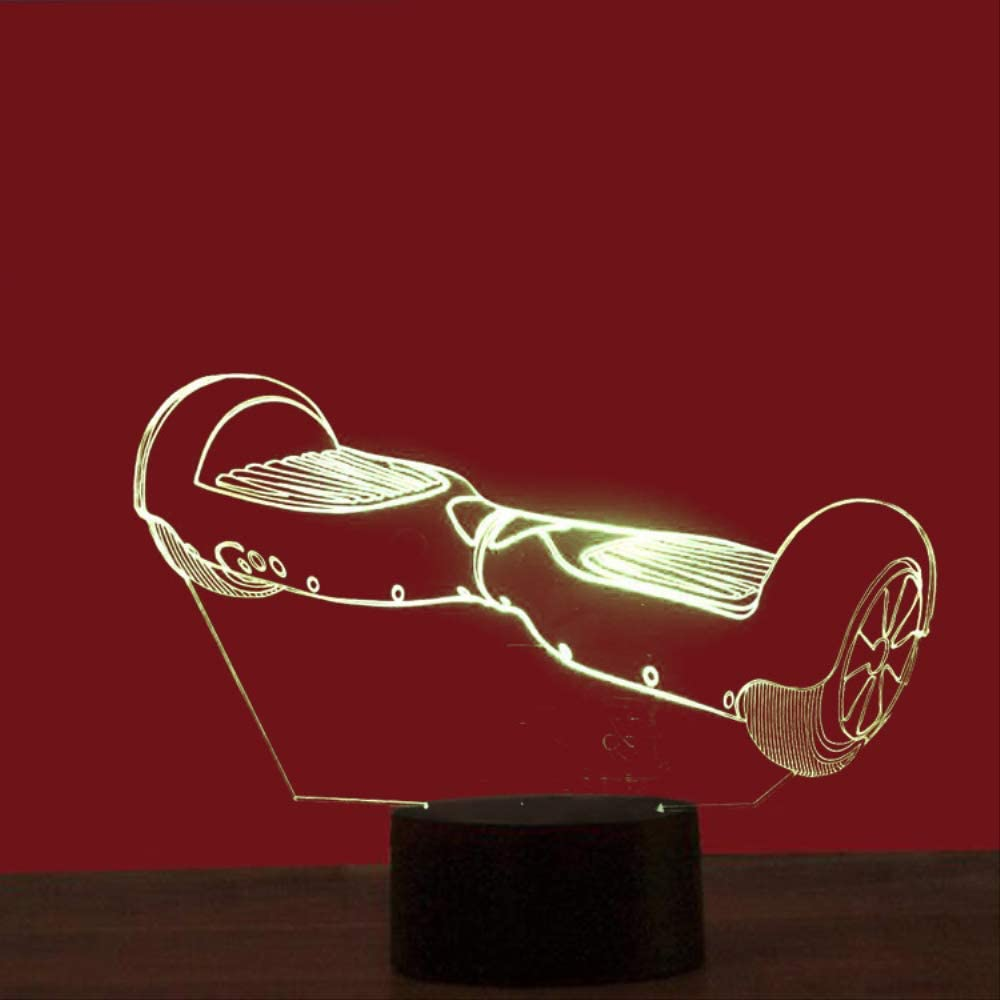 Lampara 3D,Balance Car Colorful 3D Usb Lámpara De Mesa Touch Switch Led Eye Lamp Christmas Gift con el control remoto