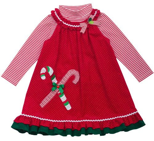 (Rare Editions 4-6X Candy Cane Ruffle Jumper Set Red 5)