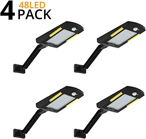 Solar Lights Outdoor, KUFUNG 48 Led Lamp, Wireless Waterproof Solar Flood Light, Security Motion Sensor Light Outdoor Luces Solares for Deck, Fence, Patio, Front Door, Gutter, Yard, Shed, Path 4 Pack