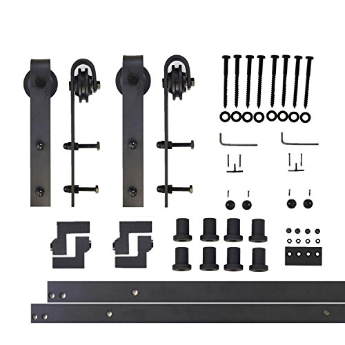 Vancleef 10FT Double Door Kit Sliding Barn Door Hardware, Classic Design, Industrial Strength, Black Rustic, Interior and Exterior Use, With Quiet Glide Roller and Descriptive Installation Manual (Manual Kit Installation)