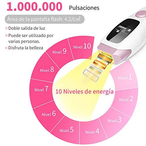 Depiladora De Luz Pulsada Ipl 1000000 Pulsaciones Permanentes De Depilacion Indolora Depiladora Profesional En 10 Niveles Y 2 Modos Con Pantalla Lcd Para Hombres Y Mujeres